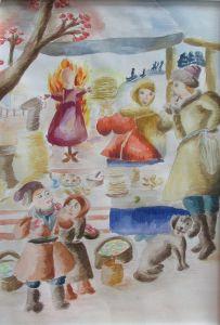 Кислякова Ксения, 14 лет, х. Ольшанка Урюпинского района. Картина Масленичное гулянье